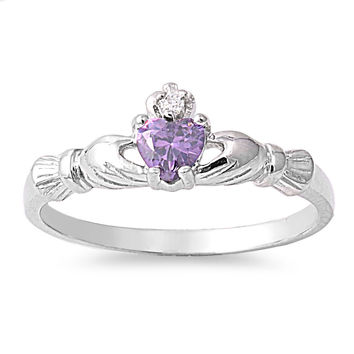 925 Sterling Silver CZ Benediction of the Claddagh Simulated Amethyst Ring 7MM