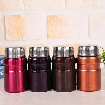 19-Ounce Hot And Cold Thermal Thermos Food Jar Stainless Steel Vacuum Thermal Lunch Box Insulated Mug + Stainless Steel Spoon