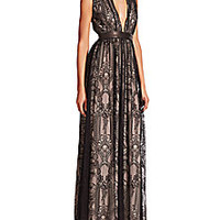 Alice + Olivia - Sybil Leather-Trim Lace Gown - Saks Fifth Avenue Mobile