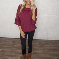 Knitted Sophistication Top Burgundy