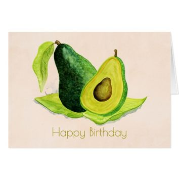 Green Avocado Fruit in Watercolors Happy Birthday Card