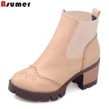 ASUMER Autumn spring female ankle boots with cut outs square heels round toe platform