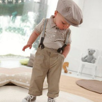 Boys' Two-piece Outfit Top Bib Pants