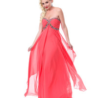 Coral Infinite Bliss Chiffon Gown 2015 Prom Dresses
