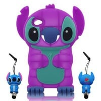 3D Stitch & Lilo ipod touch 4 Soft Silicone Case Cover with 3D Stitch Stylus Pen For itouch 4g 4th Generation - Purple