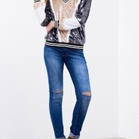 Navy Apricot Long Sleeve Color Block Sequined Sweatshirt
