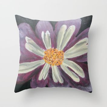 Mauve Flower Throw Pillow by Lindsay
