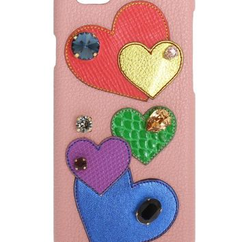 Dolce & Gabbana Pink Leather Heart Crystal Phone Case