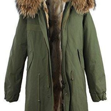 S.ROMZA Women Real Rabbit Fur Parka Upscale Long Hooded Coat Detachable Jacket Real Fu