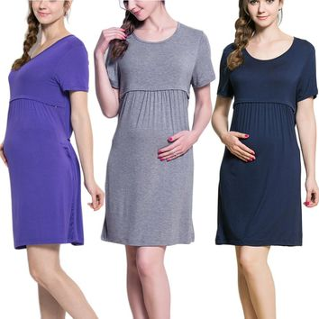 Summer Maternity nursing Dresses Breast  Feeding Dresses for Pregnant Women  Pregnancy Breastfeeding Nursing Clothing