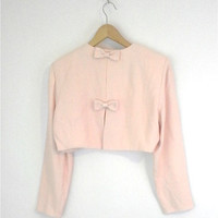 Pastel Pink Vintage 1980s 1990s Cropped Bow Back Jacket New with Tags Old Stock Size Small Medium