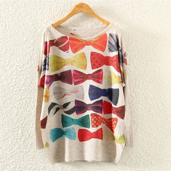 Grey Bow Print Loose Sweatshirt
