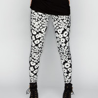 Full Tilt Daisy Womens Leggings Black/White  In Sizes