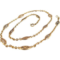 Estate Edwardian era 18K solid gold Filigree guard chain Genuine Art Nouveau oval links cable links stamped French jewelry