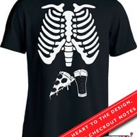 Pizza & Beer Skeleton Ribcage T Shirt Halloween Costume Shirt Funny Daddy To Be Shirt Halloween Pregnancy Announcement Men's Tee MD-567