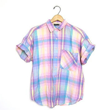 25% OFF SALE Plaid Button Down Preppy Shirt Short Sleeve Pastel 80s Top Vintage Blouse Pink Hipster Boho Preppy 1980s Women Small Medium