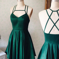Homecoming Dress, Spaghetti-Strap Mini Green Homecoming Dress, Short Prom Dresses