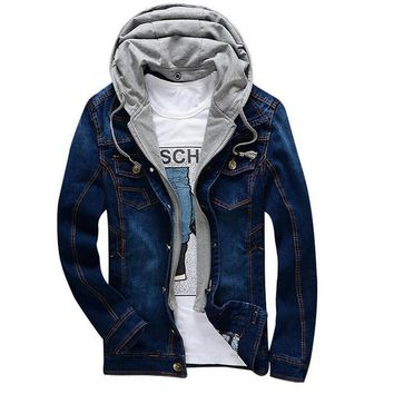 Trendy Spring Autumn Fashion Denim Jacket Men Hooded Coat Detachable Casual Jeans Jackets Cowboy Vintage Bomber Jackets Outwear Clothes AT_94_13