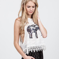 (amu) Low under arm holes elephant graphic tank