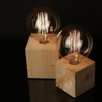 "Set of 2: Wood Lamps ""The Cube"" - Lighting - Wood table lamps with textile cable and extra large vintage Edison bulb, Wooden Table Lamps"