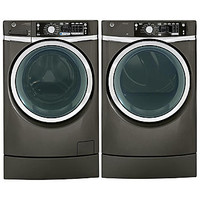 GE 4.8 cu. ft. RightHeight Design Front-Load Washer and 8.3 cu. ft. Dryer Bundle