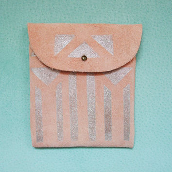 SUEDE POUCH // pink suede with silver columns