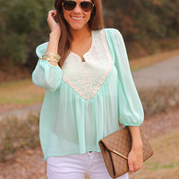 Ethnic Shield Blouse, Mint
