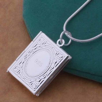 ON SALE - Memories Sterling Silver Book Locket Necklace