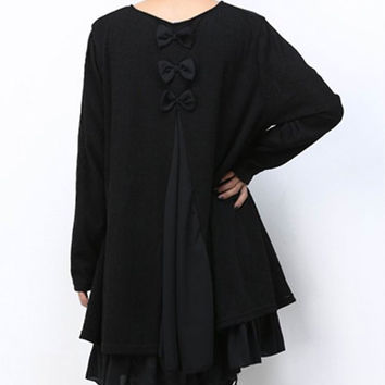 Black Long Sleeve Lace Top Dress with Bow