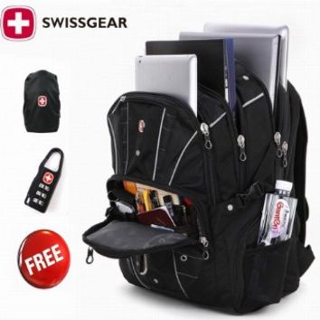 2015 Hot Waterproof Swiss Gear Multifunctional Men Luggage & Travel Bags Brand Knapsack,rucksack Backpack Hiking Bags Students School Shoulder Backpacks 15 Inch Laptop Macbook Computer Business Bag