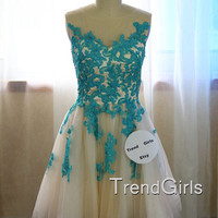 Blue A-lin Short Lace Prom Dresses, Homecoming Dresses, Dress For Prom, Lace Dresses,Cheap Prom Dress