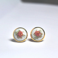 Tiny White Stud Earrings / White Flower Stud Earrings / White Romantic Earrings / Red Rose Studs / Boho Earrings Studs / Floral Jewelry