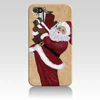 Christmas Santa Claus Hard Plastic iPhone 4, 4s, 5 Case Cover