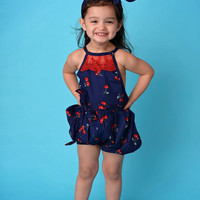 Navy Cherries Lace Bubble Romper & Headband Set - Toddler & Girl Sizes