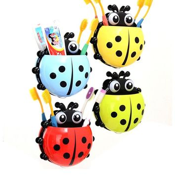 Creative Cute Ladybug Toothbrush Rack Wall Suction Cartoon Sucker Toothbrush Holder Bathroom Sets Household Items