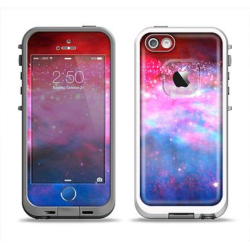 The Vivid Pink and Blue Space Apple iPhone 5-5s LifeProof Fre Case Skin Set