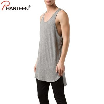 Phanteen Hip Length With A Drop Back Hem Man Tank Tops Summer Solid Color Hiphop Vests Casual Undershirts Fashion Men Clothing