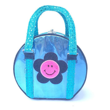 90s Baby Blue Iridescent Smiley Face Purse