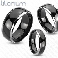 TIR-0036 Solid Titanium Mirror Polished Black Ion Plated Silver Edged Band Ring; Comes with Free Gift Box (9)