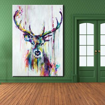 xh181 Big Triptych Watercolor Deer Head Poster Print Abstract Animal Picture Canvas Painting No Frames Living Room Home Decor