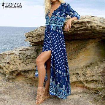 ZANZEA Women Vintage Print Long Dress 2018 Bohemian Sexy V Neck 3/4 Sleeve Casual Loose Split Beach Maxi Party Dresses Vestidos
