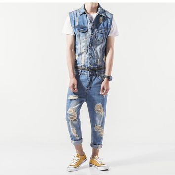 *online exclusive* mens distressed denim jumpsuit