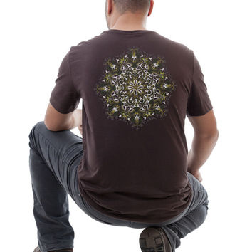 brown T shirt Lotus mandala -sacred geometry - seed of life for men SIZES: S / M / L / XL