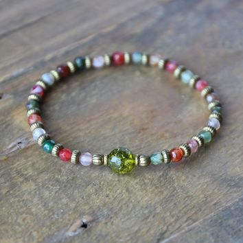 "Tourmaline Agate and Peridot Fine Faceted ""Good Luck"" Bracelet"