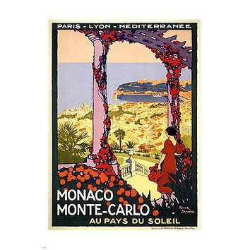 vintage monaco monte carlo TRAVEL POSTER 24X36 COLORFUL ROMANTIC collectors