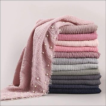 Cotton And Linen Crumpled Monochrome women's Scarf