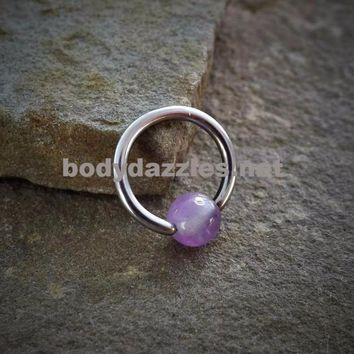 Captive Hoop Cartilage Earring with Amethyst Bead Body Jewelry Helix Tragus Daith 16ga Upper Ear Jewelry 316L Surgical Stainless Steel