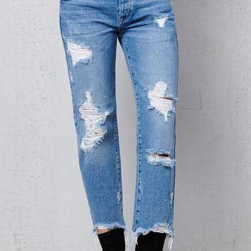 DCCKJH6 Maker Wash Ripped Boyfriend Jeans