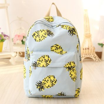 Canvas Pineapple Printed Backpack Travel Bag Daypack