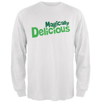 St. Patrick's Day Magically Delicious White Adult Long Sleeve T-Shirt